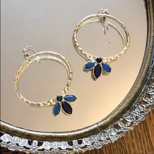 KJL Gold Hoops with Blue Stones